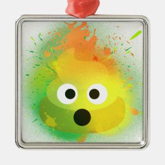 Ornement Carré Argenté Art de peinture de jet de jaune de dunette d'Emoji