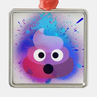 Ornement Carré Argenté Art de peinture de jet d'Emoji de dunette