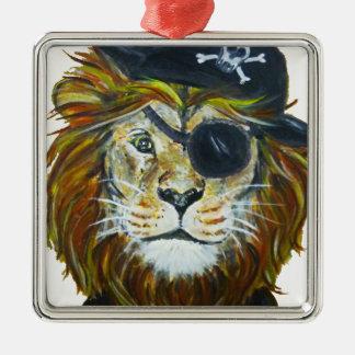 Ornement Carré Argenté Art de pirate de lion