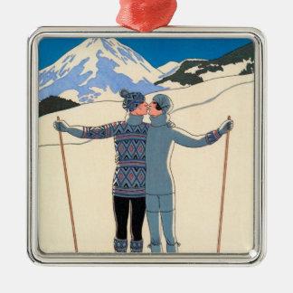 Ornement Carré Argenté Art déco vintage, amants dans la neige par George