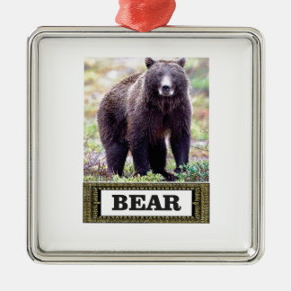 Ornement Carré Argenté art d'étiquette d'ours noir