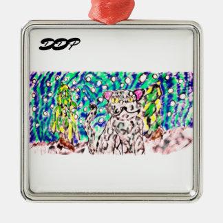 Ornement Carré Argenté Art d'hiver de léopard de neige
