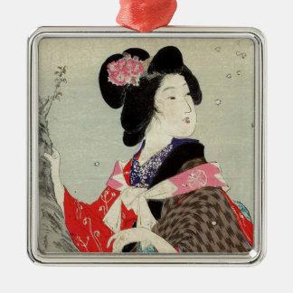 Ornement Carré Argenté Art japonais de Madame Suzuki Kason Sakura Japon