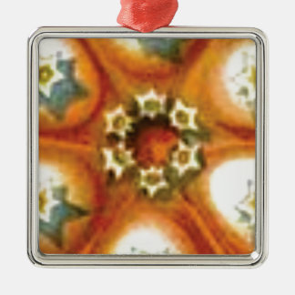 Ornement Carré Argenté art orange de noyau