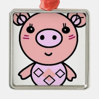 Ornement Carré Argenté art rose de porc