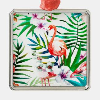 Ornement Carré Argenté Art tropical de flamant
