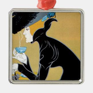 Ornement Carré Argenté Art vintage Nouveau, thé de Madame Drinking Marco