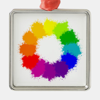 Ornement Carré Argenté Artiste de roue de couleur et professeur d'art