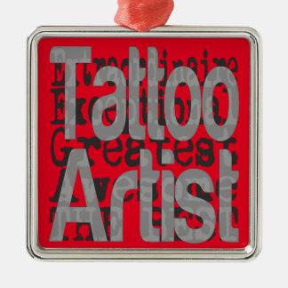 Ornement Carré Argenté Artiste de tatouage Extraordinaire