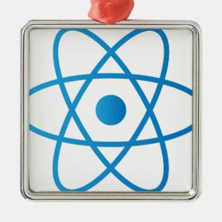 Ornement Carré Argenté Atome d'isolement par résumé
