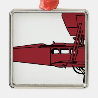 Ornement Carré Argenté Avion rouge