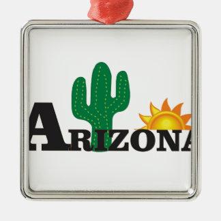 Ornement Carré Argenté Az de cactus