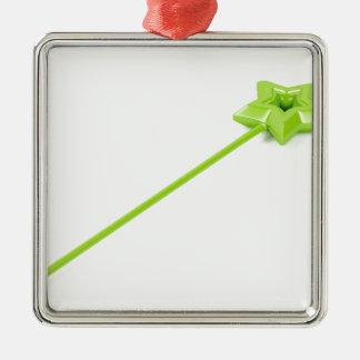 Ornement Carré Argenté Baguette magique magique verte