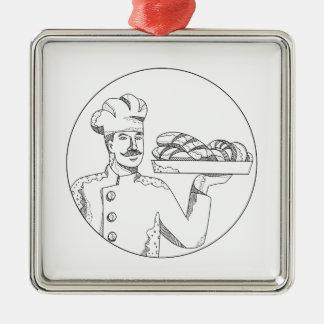 Ornement Carré Argenté Baker tenant le pain sur l'art de griffonnage de
