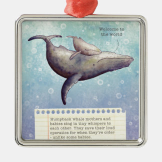 Ornement Carré Argenté Baleine adorable de mère et de bébé. Nouvelle