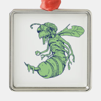 Ornement Carré Argenté Bande dessinée d'abeille de zombi
