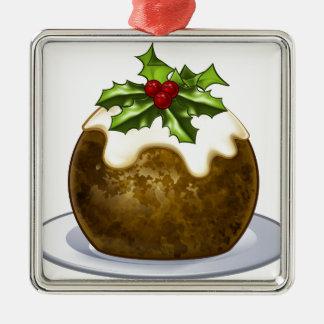 Ornement Carré Argenté Bande dessinée de pudding de prune de Noël