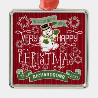 Ornement Carré Argenté Bannière de coutume de typographie de Noël heureux