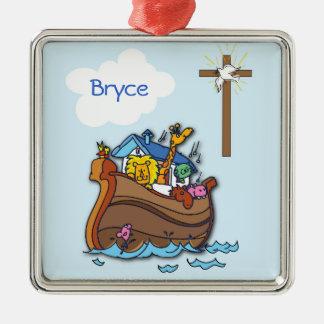 Ornement Carré Argenté Baptême de bébé de l'arche de Noé personnalisable,