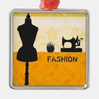 Ornement Carré Argenté Bases de couture de mode de vacances de métiers