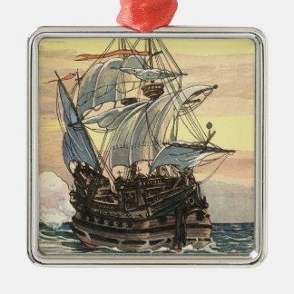 Ornement Carré Argenté Bateau de pirate vintage, navigation de galion sur