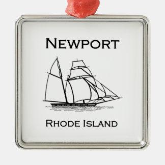 Ornement Carré Argenté Bateau grand de Newport Île de Rhode