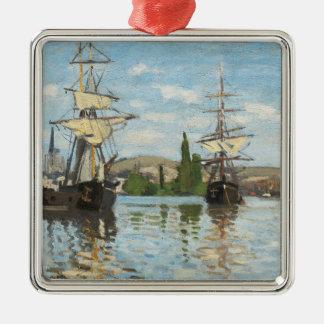 Ornement Carré Argenté Bateaux de Claude Monet | montant sur la Seine à