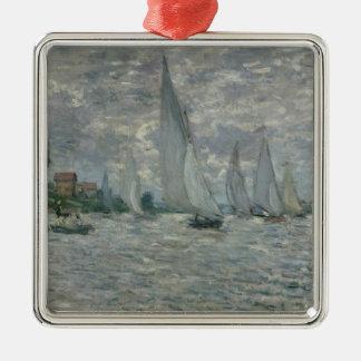Ornement Carré Argenté Bateaux de Claude Monet |, ou régate à Argenteuil
