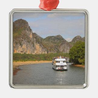 Ornement Carré Argenté Bateaux sur la rivière de Li, Chine