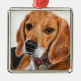 Ornement Carré Argenté Beagle