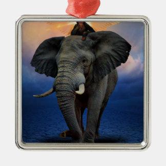 Ornement Carré Argenté beau heureux de bébé d'éléphant de joie animale