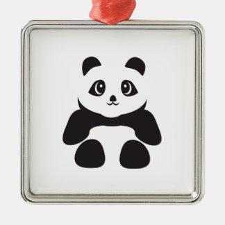 Ornement Carré Argenté Bel ours panda