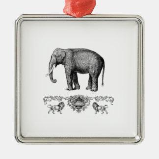 Ornement Carré Argenté bête grise d'éléphant