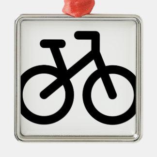 Ornement Carré Argenté Bicyclette simple