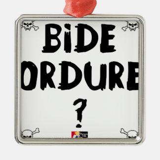 Ornement Carré Argenté BIDE ORDURE ? - Jeux de Mots - Francois Ville