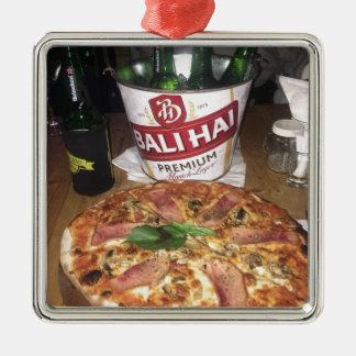 Ornement Carré Argenté Bière et pizza de Bali