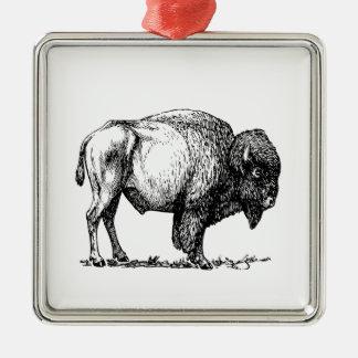 Ornement Carré Argenté Bison américain de Buffalo