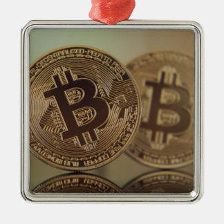 Ornement Carré Argenté Bitcoin 17
