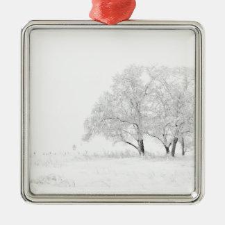 Ornement Carré Argenté Blanc de paysage d'hiver de Noël