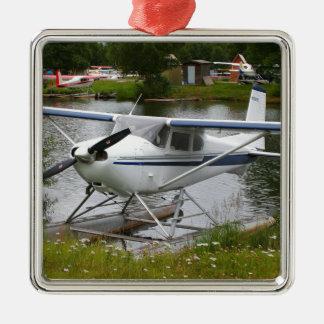 Ornement Carré Argenté Blanc, marine et avion gris de flotteur, Alaska
