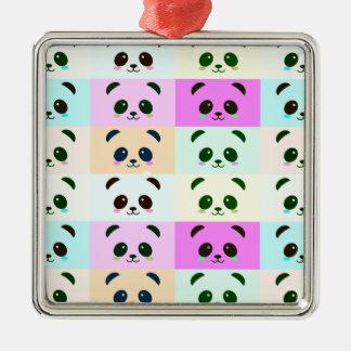 Ornement Carré Argenté Bleu de rose de jaune d'art de bruit d'ours panda