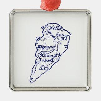 Ornement Carré Argenté Bleu marine vintage de carte de Sc de Hilton Head