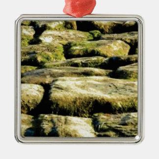 Ornement Carré Argenté blocs de jaune de roche