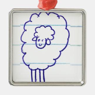 Ornement Carré Argenté Bob les moutons seuls