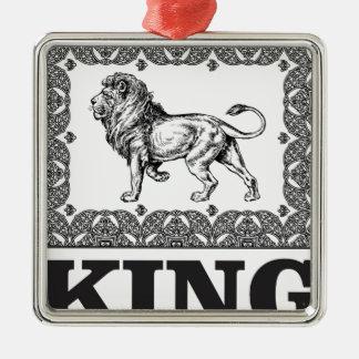 Ornement Carré Argenté boîte de lion de roi