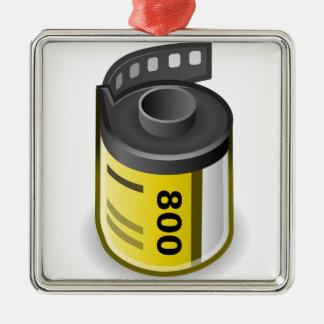 Ornement Carré Argenté Boîte métallique de film