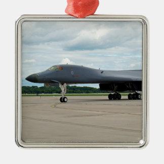 Ornement Carré Argenté Bombardier de B-1B Lancer sur la terre