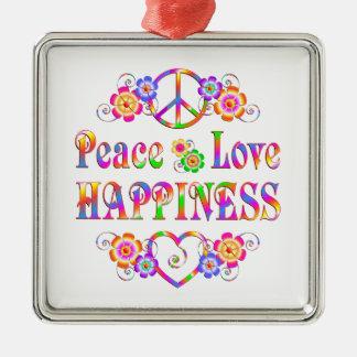 Ornement Carré Argenté Bonheur d'amour de paix