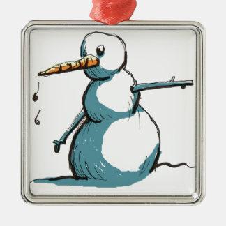 Ornement Carré Argenté bonhomme de neige