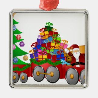 Ornement Carré Argenté Bonhomme de neige de renne de Père Noël en cadeaux